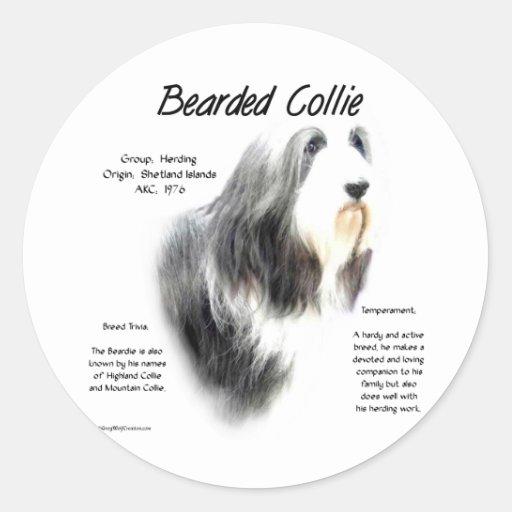 Bearded Collie History Design Round Sticker