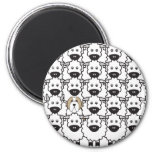 Bearded Collie in the Sheep 2 Inch Round Magnet