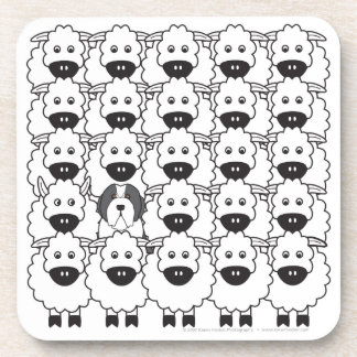 Bearded Collie in the Sheep Beverage Coaster