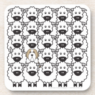 Bearded Collie in the Sheep Drink Coaster