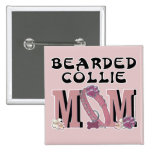 Bearded Collie MOM 2 Inch Square Button