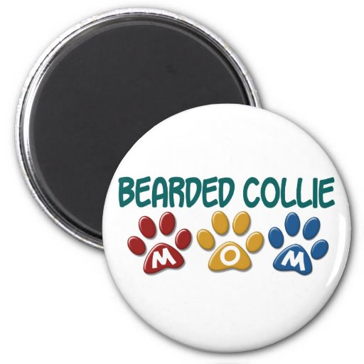 BEARDED COLLIE MOM Paw Print Refrigerator Magnets