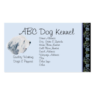 Bearded Collie on Black Bluebells Double-Sided Standard Business Cards (Pack Of 100)