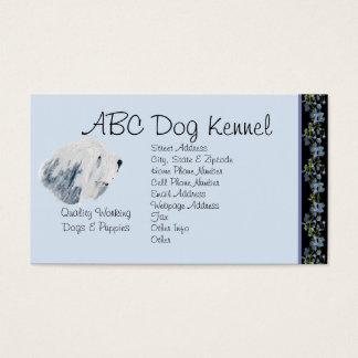 Bearded Collie on Black Bluebells Business Card