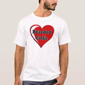 Bearded Collie on Heart for dog lovers T-Shirt