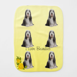 Bearded Collie on Yellow Roses Burp Cloth