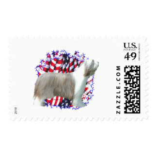 Bearded Collie Patriot Postage Stamps