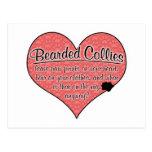 Bearded Collie Paw Prints Dog Humor Postcard