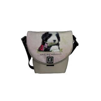 Bearded collie puppy Mini Zero Messenger Bag