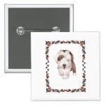 Bearded Collie Puppy Pinback Buttons