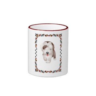 Bearded Collie Puppy Ringer Coffee Mug