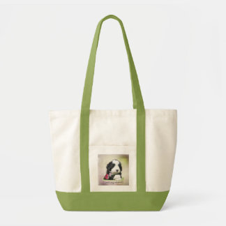 Bearded collie puppy tote bag