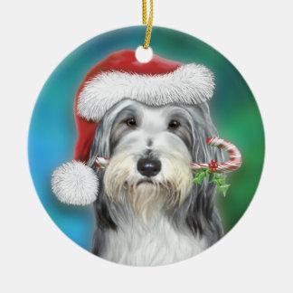 Bearded Collie Santa BG Ceramic Ornament