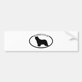 Bearded Collie Silhouette Black Bumper Sticker Car Bumper Sticker