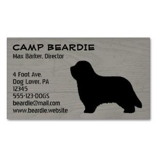 Bearded Collie Silhouette Business Card Magnet
