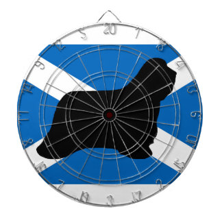 bearded collie silhouette Scotland flag Dart Board