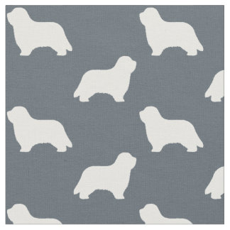 Bearded Collie Silhouettes Pattern Fabric
