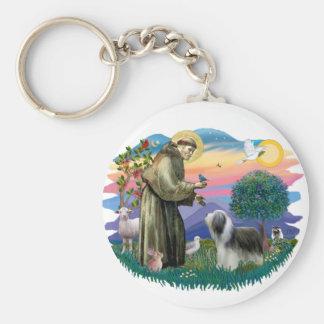 Bearded Collie (slate-white) Keychain