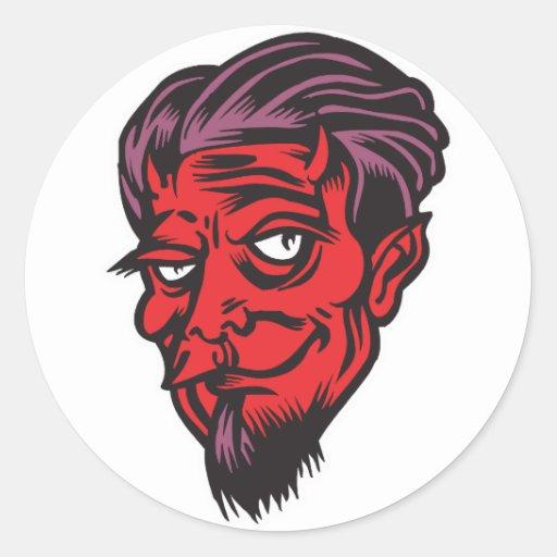 bearded devil round sticker