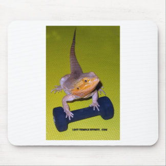 bearded dragon lifting weights mouse pad