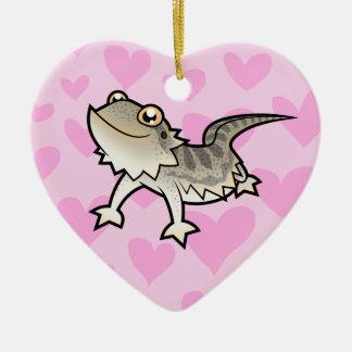 Bearded Dragon / Rankin Dragon Love Double-Sided Heart Ceramic Christmas Ornament