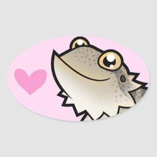 Bearded Dragon / Rankin Dragon Love Oval Sticker