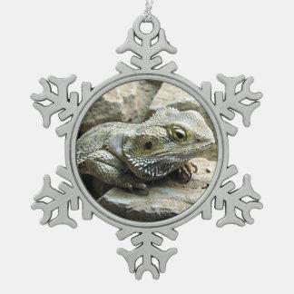 Bearded Dragon Snowflake Pewter Christmas Ornament