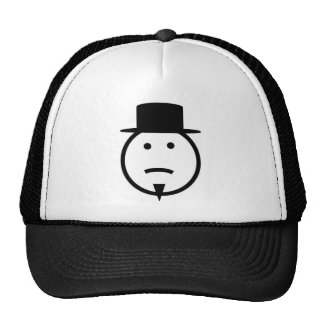 Bearded frown face tophat gear mesh hats