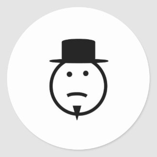 Bearded frown face tophat gear classic round sticker