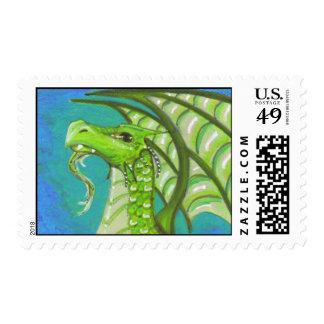 Bearded Green Dragon big eye fantasy art Postage
