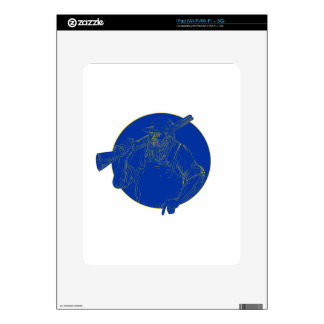 Bearded Hunter Holding Rifle Circle Woodcut Decals For iPad