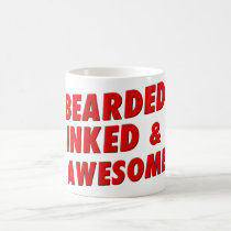 tattoo, mustache, hipster, manly, beard, funny, best man, men, cool, typography, awesome, inked men, humor, words, fun, quote, bearded inked awesome, mug, Caneca com design gráfico personalizado