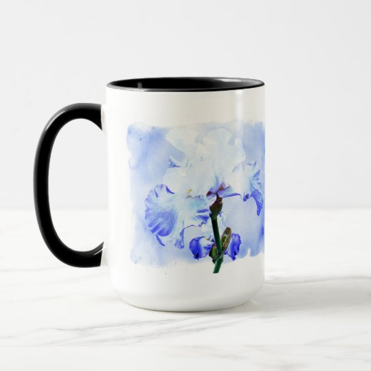 Bearded Iris - Blue And White Mug