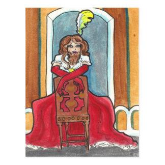 Bearded Lady circus + side show art postcard
