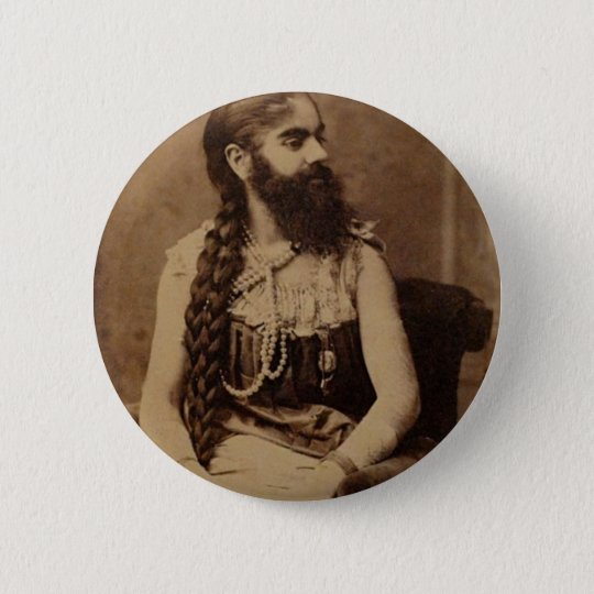 Bearded Lady Pinback Button