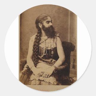 Bearded Lady Round Sticker
