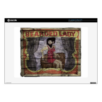 """Bearded Lady Vintage Canival Banner 15"""" Laptop Skin"""