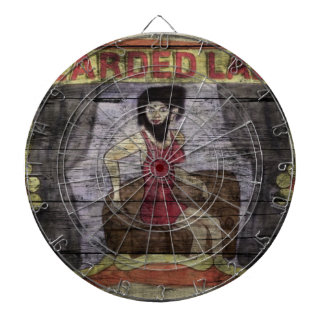 Bearded Lady Vintage Canival Banner Dartboard With Darts