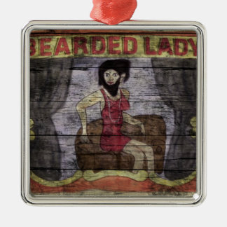 Bearded Lady Vintage Canival Banner Metal Ornament