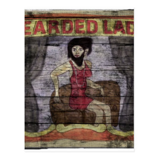 Bearded Lady Vintage Canival Banner Postcard