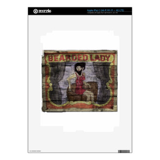 Bearded Lady Vintage Canival Banner Decals For iPad 3