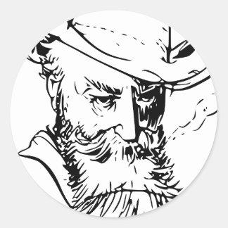 Bearded man classic round sticker