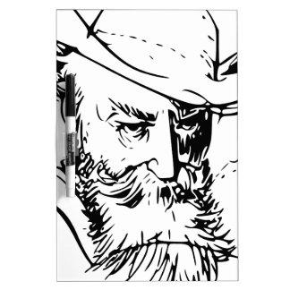 Bearded man dry erase board