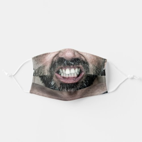 Bearded man showing teeth cloth face mask