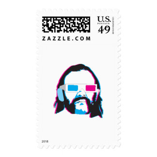 Bearded Man with 3D Glasses Postage Stamp