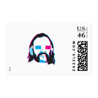 Bearded Man with 3D Glasses Stamp