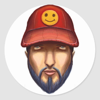 Bearded Man With a Red Cap Yellow Smiley Classic Round Sticker