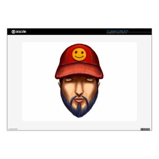 """Bearded Man With a Red Cap Yellow Smiley Decal For 15"""" Laptop"""