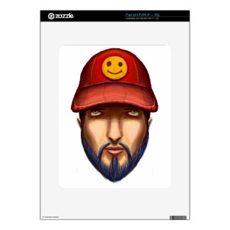 Bearded Man With a Red Cap Yellow Smiley Decals For iPad