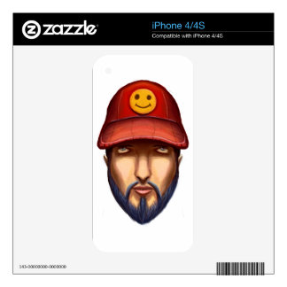 Bearded Man With a Red Cap Yellow Smiley Decals For The iPhone 4